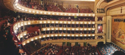 A panorama view of the interior of the Staatsoper from the balcony where we were sitting
