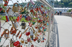 "A ""love locks"" bridge in the middle of town"