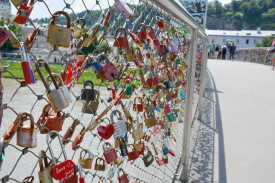 """A """"love locks"""" bridge in the middle of town"""