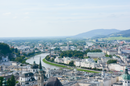 The view of the city of Salzburg from the top of Hohensalzburg Fortress