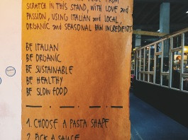 A sign from the pasta truck at Papirøen