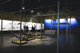 Main exhibition room with remains of the exploded truck